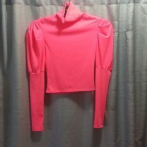 NWOT Bright Pink crop top